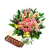 Burst Of Romance with Chocolates: Anniversary Flower Delivery Qatar