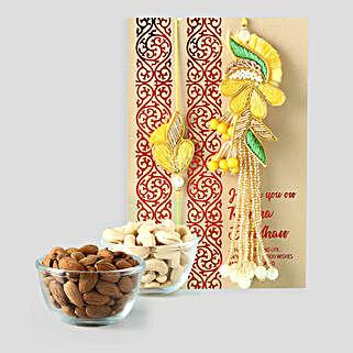 Dry Fruits And Bhaiya Bhabhi Rakhi Combo: Rakhi for Bhaiya Bhabhi to Qatar