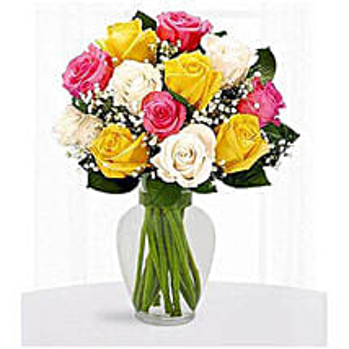12 Multi Color Roses: Anniversary Flowers to Saudi Arabia