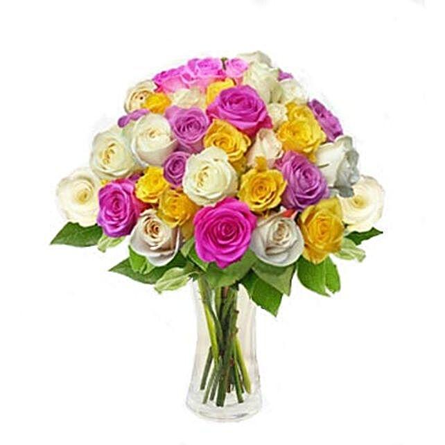 Mix Roses in Vase
