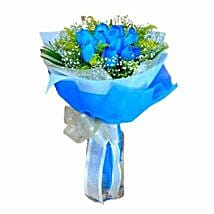 10 Blue Roses Hand Bouquet: Friendship Day Gifts to Singapore