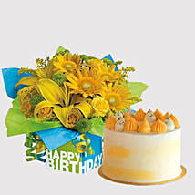 Banana Cake and Sunshine Floral Combo: Lilies in Singapore