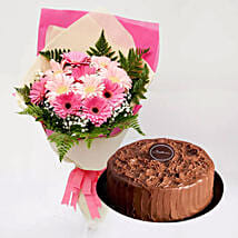Chocolate Cake and Pink Gerbera Bouquet: Flowers & Cakes Delivery to Singapore