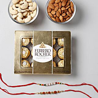 Crunchy And Yummy Rakhi Combo: Rakhi and Chocolates to Singapore