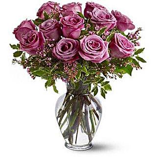 Dozen Levender Roses: Send Birthday Flowers to Singapore