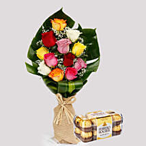 Flamboyant Roses and Ferrero Rocher Box: Flowers N Chocolates to Singapore