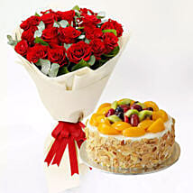 Fruit Cake and Red Rose Bouquet: Flowers & Cakes Delivery to Singapore