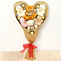 Heart Shaped Teddy Bear and Chocolate Bouquet: Soft toys to Singapore