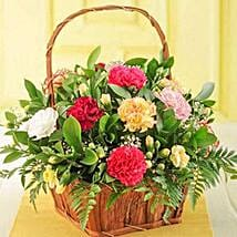 Mixed Carnations in a Basket: Send Gifts to South Africa