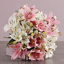 Pastel Pink And White Lily Bouquet: Lilies to South Africa