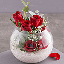 Red Roses In Glass Bowl: Rakhi Delivery in South Africa