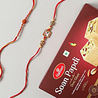 American Rakhi Set with Soan Papdi Sweet: Rakhi Delivery in Sweden