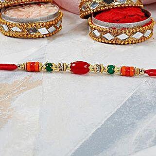 Red Oval Bead Dori Rakhi: Send Rakhi to Turkey