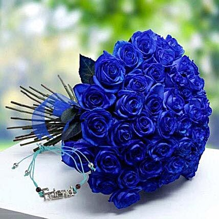 Friendship Band with Blue Roses