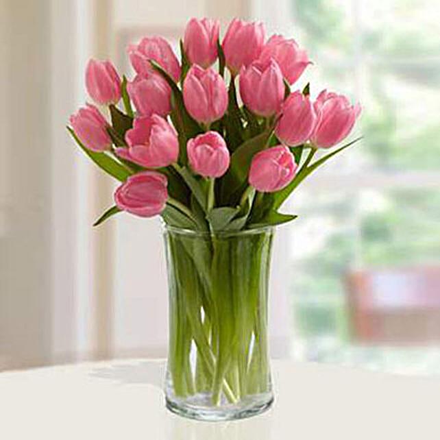 Pink Tulips Arrangement Deluxe