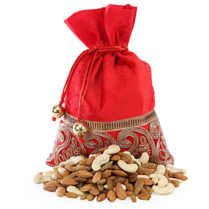 Red Potli Bag with Dry Fruits