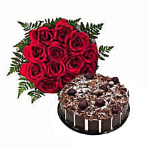 1 Dozen Roses with Cake: Cakes Delivery in Sharjah