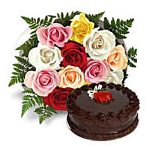 12 Multicolored Roses with Cake: Send Flowers for Him to UAE