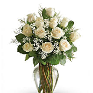 12 White Roses Arrangement: Send Sympathy & Funeral Flowers to UAE