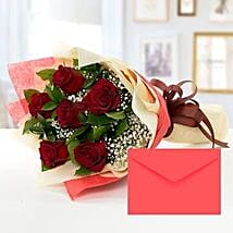 6 Red Roses Bouquet With Greeting Card: Mother's Day Flower and Cards to UAE