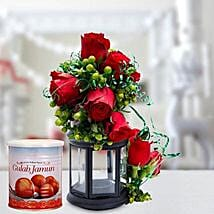 Alluring Roses Arrangement and Gulab Jamun Combo: Send Sweets to UAE