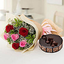 Beautiful Roses Bouquet With Chocolate Fudge Cake: Birthday Flowers and Cakes to UAE