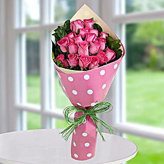Dark Pink Roses Bunch: Valentine's Day Flowers to UAE