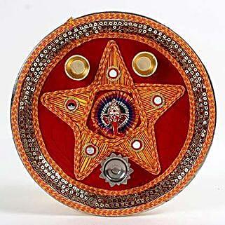 Decorative Steel Pooja Thali: Karwa Chauth Gifts to UAE