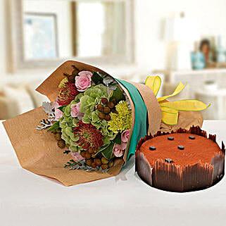 Delightful Flower Bouquet With Tiramisu Cake: Anniversary Flower N Cake to UAE