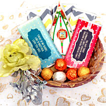 Elegant Basket with Chocolate Bars: Rakhi Delivery in Dubai