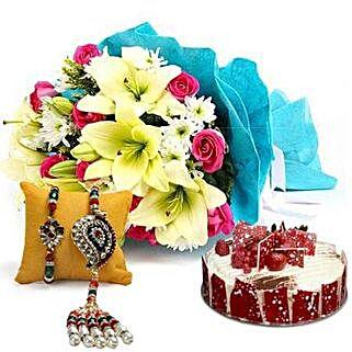 Elegant Bouquet with Cake N Rakhi: Send Rakhi to Sharjah