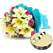 Elegant Bouquet with Cake: Same Day Flowers for Him in Dubai UAE