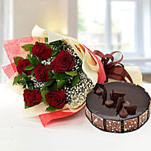 Elegant Rose Bouquet With Chocolate Fudge Cake: Send Flowers and Cakes to UAE