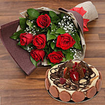 Enchanting Rose Bouquet With Marble Cake: Birthday Flowers and Cakes to UAE