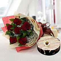 Enchanting Rose Bouquet With Marble Cake: Mother's Day Flowers and Cakes to UAE