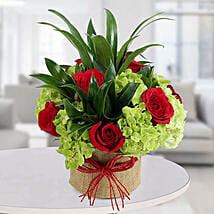 Enticing Roses N Hydrangea Arrangement: Valentine Gifts for Husband to UAE