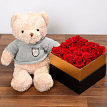Idyllic Red Roses and Teddy Bear: Birthday Gift Delivery in UAE