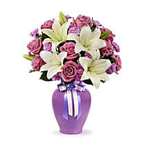 Lavender Mixed Flower Bouquet: Same Day Rose Delivery in UAE