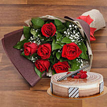 Magnificent Rose Bouquet With Triple Chocolate Cake: Rose Day Gift Delivery in UAE