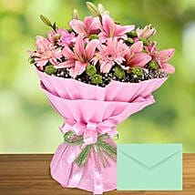 Pink Flowers Bouquet With Greeting Card: Mother's Day Flower with Greeting Cards to UAE