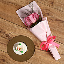 Pink Roses Bouquet and Mono Cake Combo: Flower Bouquets to UAE