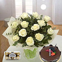 Pure Love Combo: Birthday Flowers and Cakes to UAE