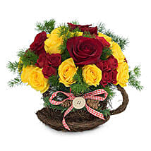 Radiant Red N Yellow Roses Arrangement: Christmas Gift Delivery in UAE