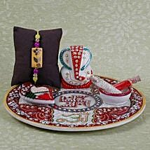 Rakhi And Ganesha Idol Combo: Rakhi Pooja Thali to UAE