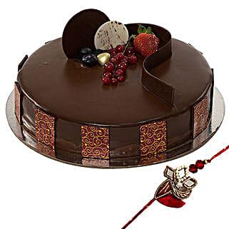 Rakhi with Chocolate Truffle Cake: Send Rakhi to UAE - Free Shipping