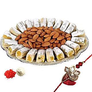 Rakhi with Kaju Roll n Almonds: Rakhi Delivery in Dubai