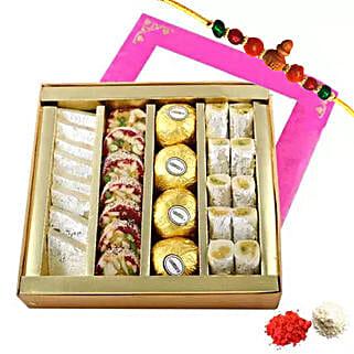 Rakhi with Mixed Sweets Box: Send Rakhi to Sharjah