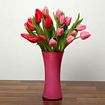 Red and Pink Tulips In Glass Vase: New Arrival Gifts to UAE
