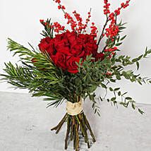 Red Roses and Ilex Berries Bouquet: Birthday Bouquets for UAE