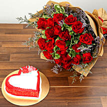 Red Roses and Vanilla Cake Combo: Valentine Gifts to Ras Al Khaimah